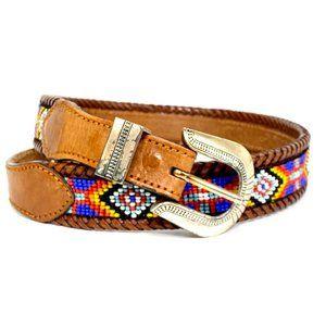 Vintage 90s LL Bean Western Beaded leather belt 28
